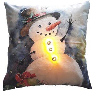 CHRISTMAS LED LIGHT UP SNOWMAN SOFT VELVET FESTIVE CUSHION COVER £5.99 EACH