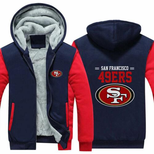 San Francisco 49ers Fan Hoodie Fleece zip up Coat winter Jacket warm Sweatshirt