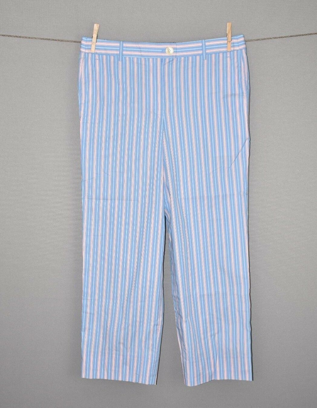 J.CREW NEW  179 bluee Shirting Stripe Cropped Slim Pant Size 8