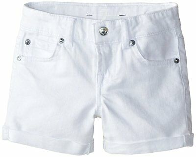 7 For All Mankind Toddler Girls' Denim 5 Pocket Cuff Shorts Clean White Drip-Dry Girls' Clothing (newborn-5t)