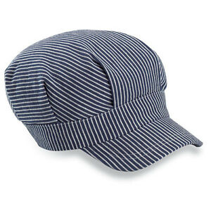 ADULT-Navy-Blue-STRIPED-ENGINEER-039-S-TRAIN-HAT-CAP-Railroad-Elastic-Nice