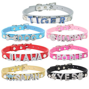 Customized-Free-Name-Cat-Dog-Collar-Bling-Charm-Small-Pet-Poodle-Puppy-Collars