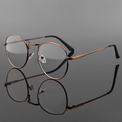 Vintage Oval  Eyeglass Frame Man Women Plain Glass Clear Full-Rim Spectacles