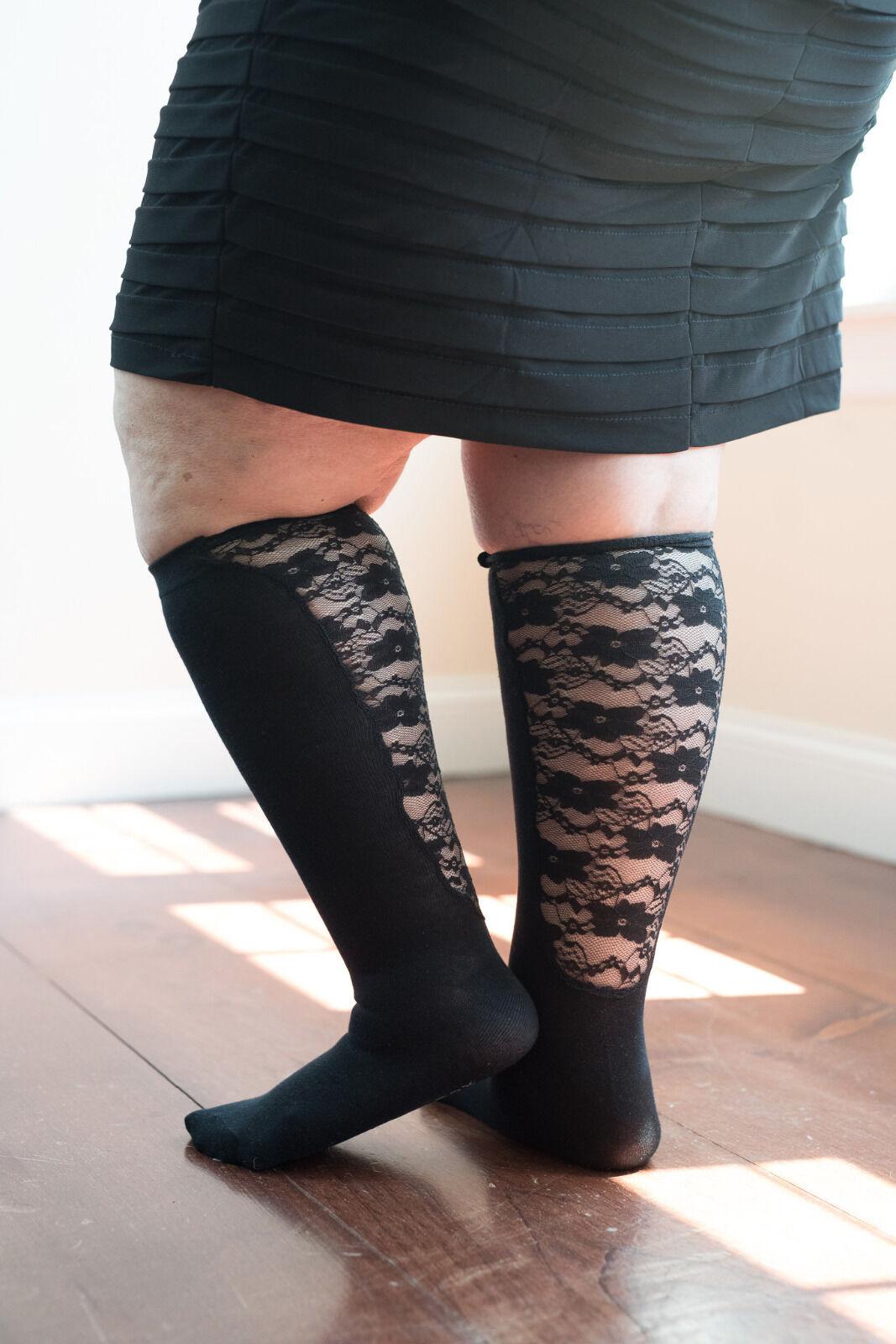 305803d13d Xpandasox Plus Size/lymphedema Socks 24 Inches at Calf Black Lace ...