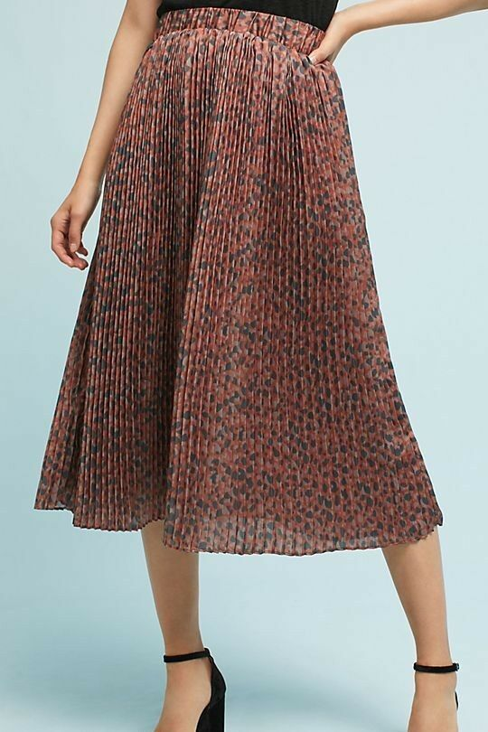 NWT RARE  128 Anthropologie Numph GORGEOUS ELEGANT Pleated Leopard Skirt S NEW
