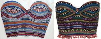 Topshop Aztec Tribal Tapestry Pom Pom Bobble Boned Corset Bralet Basque Crop Top