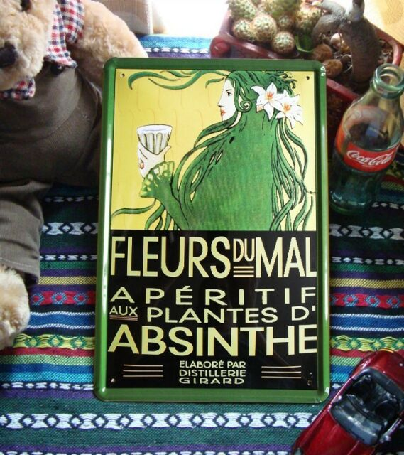 Fleurs Du Mal Aperitif Aux Plantes D' ABSINTHE Metal Tin Sign Absente Decor ad