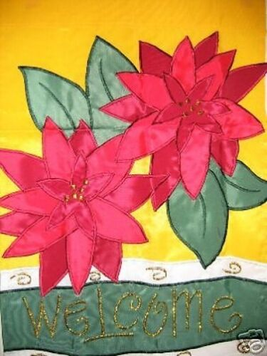 CHRISTMAS POINSETTIA WELCOME 13X18 MINI GARDEN FLAG