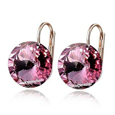 Fashion rose pink Austrian crystal earring dangle/drop 18k rose Gold plated E895