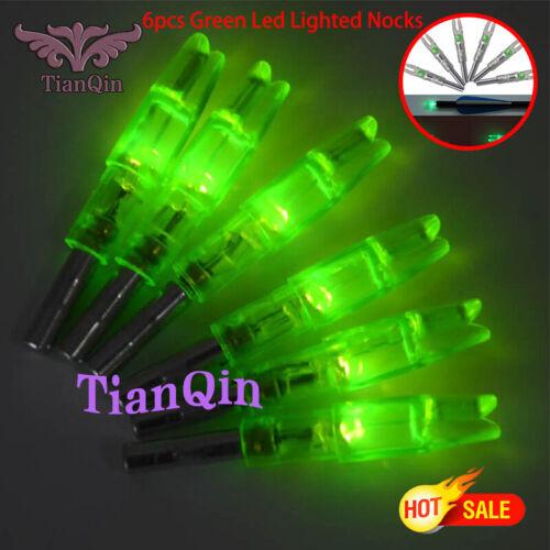 6x Green Compound Bow Glow Luminous Lighting Knock Hunting Archery ID6.2mm Arrow