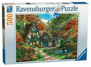 Ravensburger-Cottage-Hideaway-500pc-Jigsaw-Puzzle-Romantic-View-Forest