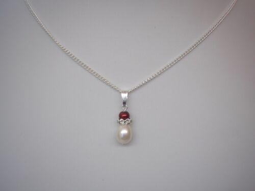 Perla y Cristal Diamante señoras de Lágrima Colgante Collar niño niños niñas V15A