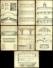 7 Antique Prints / Engraving - BRIDGES - Rialto Rome Rimini Aqueducts Palladios