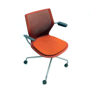 Knoll-2HASXHC-Multi-Generation-Hybrid-Base-Red-Office-Chair-Fixed-Arms-w-Casters