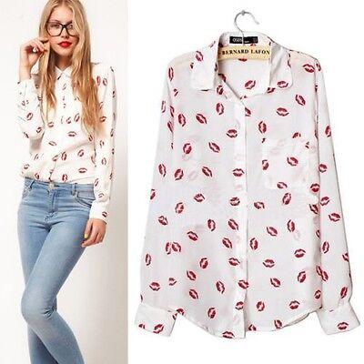 Women Lady  Chiffon Long Sleeve Shirt Blouse Tops Lapel OL Modern Shirt 20 Style