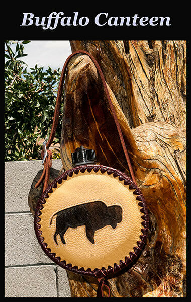 Leather-Laced Buffalo  Canteen - with real hair-on Buffalo hide and leather.    A  selling well all over the world