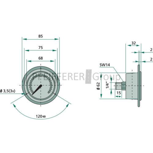 """Wika manómetro 400 bar ø63mm-1//4/"""""""