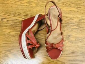 99feed50f5b Details about COACH DALTON LEATHER PLATFORM WEDGE SHOES NWOB SIZE 8
