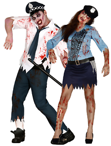 Image is loading Couples-Ladies-Mens-Zombie-Police-Officers-Cops-Halloween-  sc 1 st  eBay & Couples Ladies Mens Zombie Police Officers Cops Halloween Fancy ...