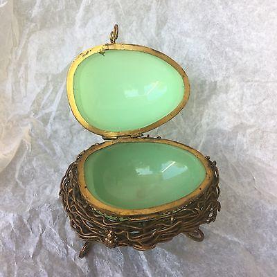 RARE French Green Opaline Egg Casket Box Bronze Dore Bird Nest Bugs Napoleon III