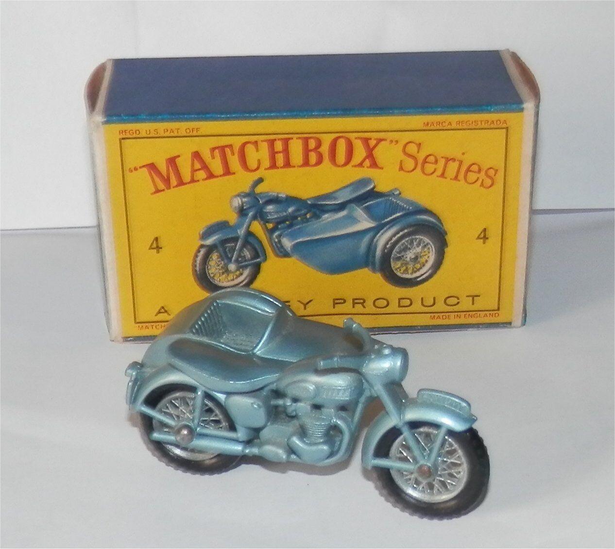 En los años 60, Matchbox Lesney, 4 Triumph t110 y 3 ruedas laterales, cajas de Cocheamelos de menta.
