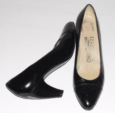 SALVATORE FERRAGAMO *SAKS FIFTH AVENUE* BLACK~VINTAGE~CLASSIC PUMPS SHOES~6 AA