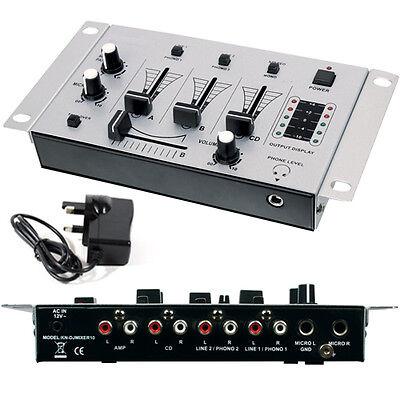 3-Channel DJ Mixer - Crossfade Talkover Microphones Mics Pre-Amplifier - Karaoke