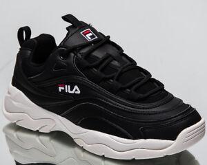 Details zu Fila Damen Ray Niedriges Top Lifestyle Schuhe Schwarz Weiß 2018 Sneakers