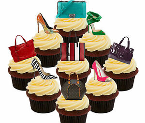 Image Is Loading Handbags Amp Shoes 36 Edible Cup Cake Toppers