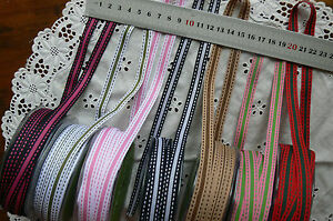 Grosgrain-Striped-Stitched-Ribbon-10mmWide-5-amp-10Mtr-Lengths-7-Colour-Choice-ALD11