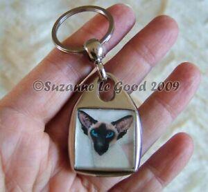 SIAMESE-CAT-art-Keyring-handbag-charm-original-painting-by-Suzanne-Le-Good