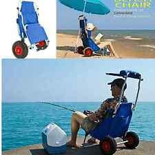 Folding Beach Chair Fishing Storage Shade Carrier Cart Comfortable Wheel Holder