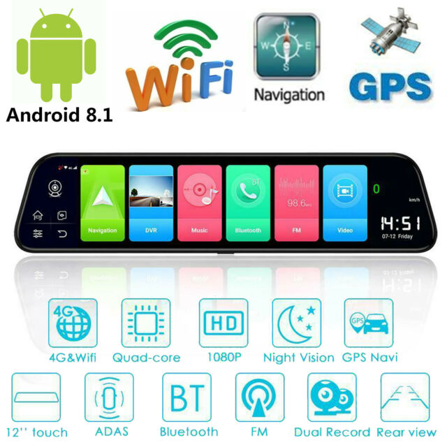 "12"" 4G Android 8.1 Quad Core GPS Nav BT Car DVR Camera Rearview Mirror Dashcam Y"