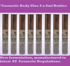 COSMETIC BODY GLUE 8 x 8ML BOTTLE - Suitable for Glitter Tattoos & Rhinestones