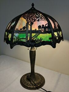 RARE-VINTAGE-ANTIQUE-MILLER-SLAG-COLORED-GLASS-LAMP-HOUSE-BOAT-LAKE-WATER
