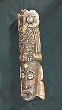 "Wooden Owl Handcraft Carving Furniture Handmade Gift Home Thai Decor long19"""