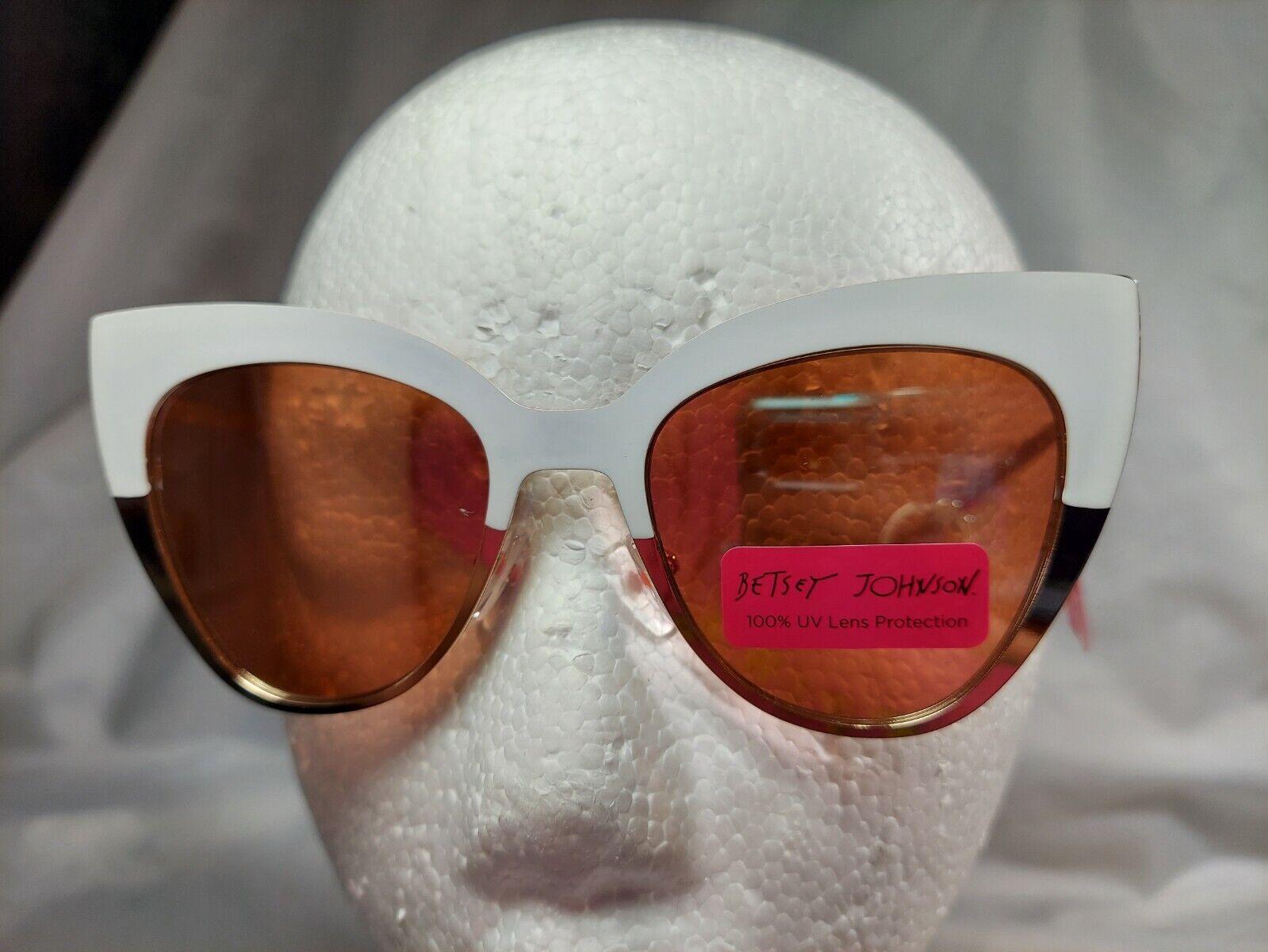 NWT Betsey Johnson Gold and White Cat Eye Sunglasses
