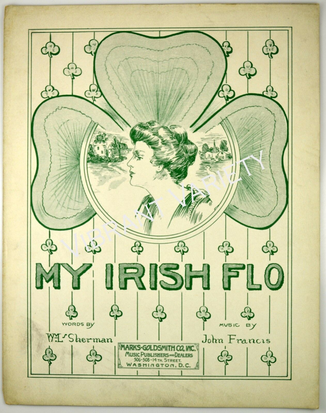 My Irish Flo Music By Sherman/Francis 1915 Antique Sheet Music Irish Art Clover