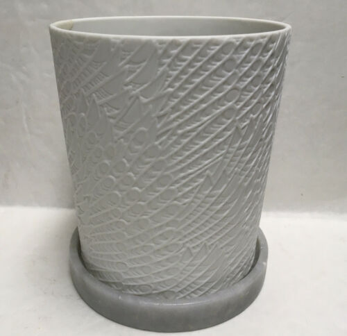 """DIPTYQUE CANDLE HOLDER White w// Grey Marble BASE 5/"""" x 4/"""" See Details"""