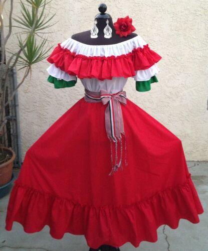 MEXICAN FIESTA,5 DE MAYO,WEDDING RED//TRICOL DRESS OFF SHOULDER2PC W//MEDIUM SASH