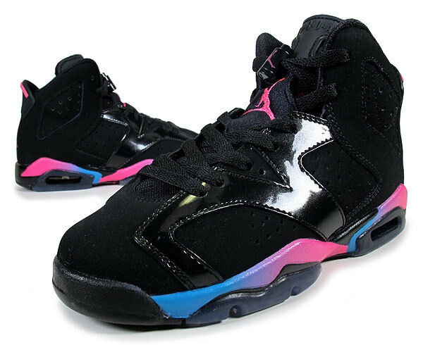 Nike Jordan 6 VI Retro GS Black Pink bluee Rainbow 543390 050 Girl Sz 6.5Y shoes