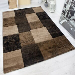 Modern Classic Checkered Rug Tightly Woven In Brown