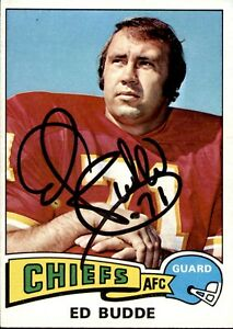 Ed Budde Signed 1975 Topps #174 Autographed Chiefs 53461