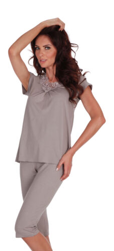 New Womens Pyjamas Set V Neck Top And Leggings Sleepwear Size UK 8-16