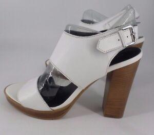 Js079 Heel Uk Sales 7 Eu Sandals Leather 04 Block Next 41 Cc White q6wAacB
