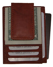 Mens Leather Magnet Money Clip Front Pocket ID Credit Card Multi function Wallet