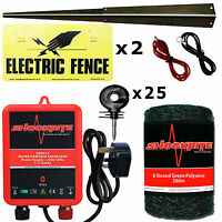 Electric Fence Mains Energiser Srm312 1.2j 200m Green Polywire 25 Ring 2 X Sign