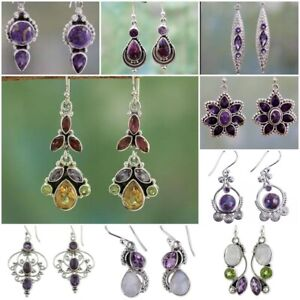 Purple-Gemstone-925-Silver-Earrings-Proposal-Wedding-Dangle-Drop-Women-Jewelry