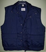 The Men's Store at Sears Vintage Puffy Puffer Vest sz XL Navy Blue w/Wind Flap