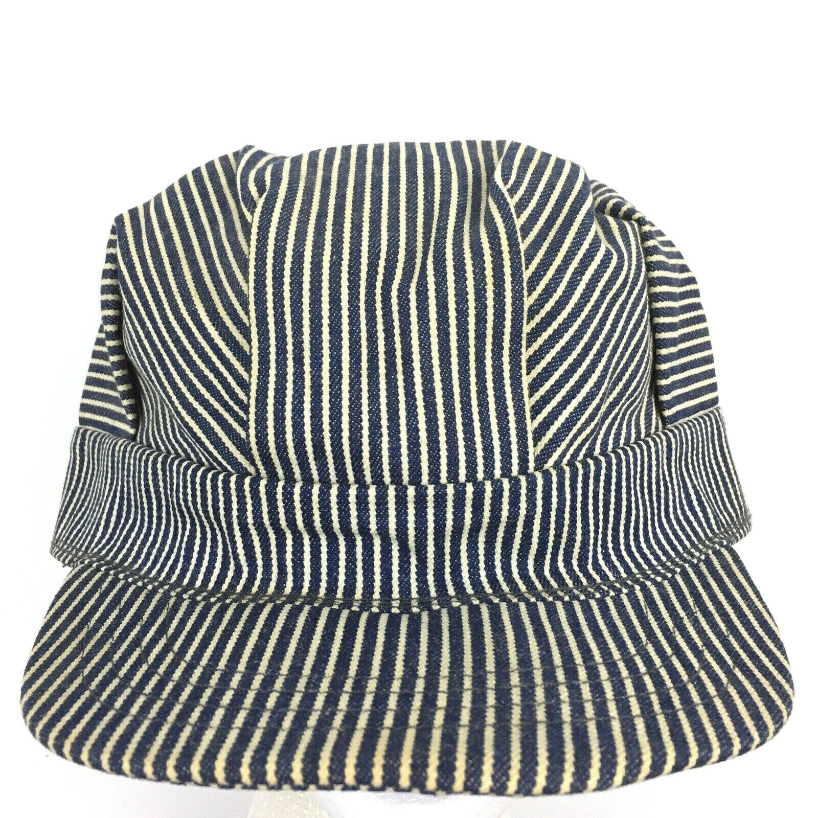 Vtg 80s Train Railroad Engineer Cap Made USA Snap Back Pin Striped Baseball Hat